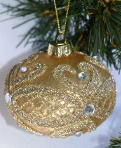 Oval Gull Glasskule Med Dekor - 3Pk