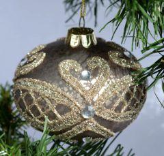 Gyldengrå Julekule Med Nydelig Dekor - 3Pk