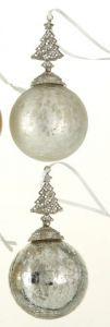 Lekre Sølv Glasskuler Med Juletre - 2 Pk