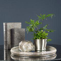 Vakkert Sølvfarget Speilfat-Brett L