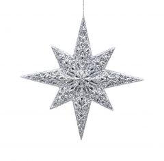 Vakre Sølvfargede Stjerner - 2 Pk
