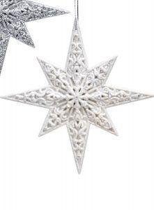Vakre Hvite Stjerner - 2 Pk
