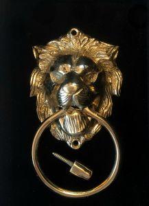 Rex Dørbanker i Gull Med Løvehode