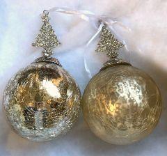 Lekre Gull Glasskuler Med Juletre - 2 Pk