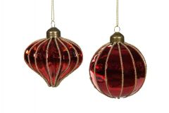 4 Pk Skinnende Blanke Røde Glasskuler