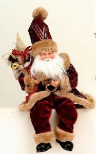 Vakker Dyprød Sittende Julenisse