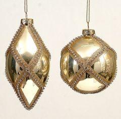 Gyldne Vakre Glasskuler - 3 Pk