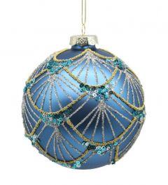 Store Blå Peacock Glasskuler - 2Pk