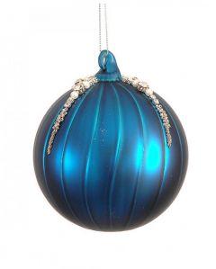 Vakker Mattblå Glasskule - 2Pk