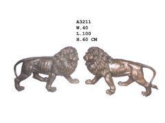 Stående Løvepar Bronse