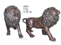Stort Flott Stående Løvepar - I Bronse