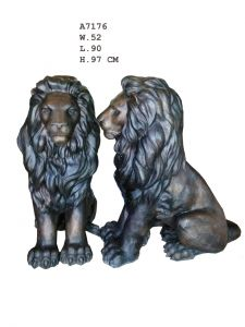 Stort Flott Løvepar I Bronse