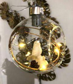 Nydelig Julekule Med Sittende Fugl & Ledlys