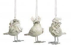 Søte Hvite Vinterfugler - 3Pk