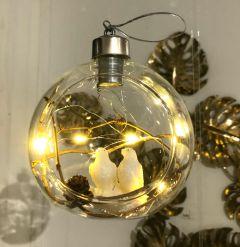 Nydelig Julekule Med Fuglepar & Ledlys