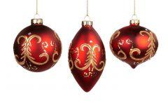 Vakre Røde Julekuler Med Gulldekor- 3Pk