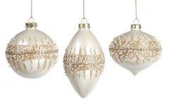 Vakre Hvite Julekuler Med Perledekor- 3Pk