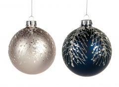 Vakre Blå & Grå Julekuler Med Dekor- 2Pk