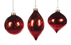 Vakre Skinnende Mørkrøde Julekuler - 3Pk