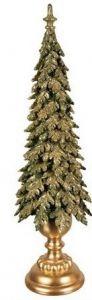 Nydelig Juletre Med Fot - Gull & Grønt 56cm